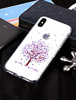 baratos -Capinha Para Apple iPhone X / iPhone 8 IMD / Transparente / Estampada Capa traseira Árvore Macia TPU para iPhone X / iPhone 8 Plus / iPhone 8