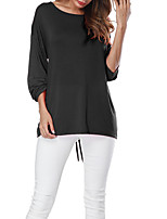 cheap -Women's Basic T-shirt - Solid Colored Lace up