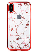 economico -Custodia Per Apple iPhone X / iPhone 8 Con diamantini / Placcato / Decorazioni in rilievo Per retro Fiore decorativo Resistente PC per iPhone X / iPhone 8 Plus / iPhone 8