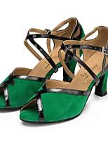 baratos -Mulheres Sapatos de Dança Latina Camurça Sandália Salto Cubano Sapatos de Dança Verde