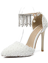 cheap -Women's Shoes PU(Polyurethane) Spring & Summer D'Orsay & Two-Piece Wedding Shoes Stiletto Heel Pointed Toe Sparkling Glitter / Buckle / Tassel White / Party & Evening