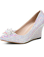 cheap -Women's Shoes PU(Polyurethane) Fall & Winter Basic Pump Wedding Shoes Wedge Heel Pointed Toe Rhinestone / Crystal / Sparkling Glitter Rainbow / Party & Evening