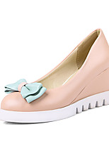 cheap -Women's Shoes PU(Polyurethane) Spring & Summer Basic Pump Heels Wedge Heel Pointed Toe Bowknot White / Blue / Pink