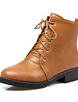 cheap -Women's Shoes PU(Polyurethane) Fall & Winter Fashion Boots Boots Low Heel Round Toe Booties / Ankle Boots Black / Beige / Brown