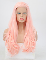 cheap -Synthetic Lace Front Wig Wavy Pink Layered Haircut Synthetic Hair Heat Resistant Pink Wig Women's Long Lace Front / Yes