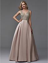 preiswerte -A-Linie V-Ausschnitt Boden-Länge Satin / Pailletten Abiball / Formeller Abend Kleid mit Perlenstickerei durch TS Couture®