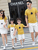 cheap -Kids Family Look Geometric Short Sleeve Clothing Set
