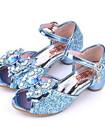 cheap -Girls' Shoes PU(Polyurethane) Spring / Fall Flower Girl Shoes Sandals Bowknot / Buckle for Kids Blue / Pink / Peep Toe / Party & Evening
