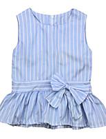 Недорогие -малыш Девочки Синий и белый Полоски Без рукавов Платье