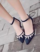 abordables -Mujer Zapatos PU Primavera verano Innovador Tacones Tacón Kitten Dedo Puntiagudo Hebilla Negro / Azul