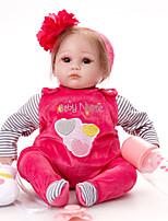 Недорогие -FeelWind Куклы реборн Девочки 16 дюймовый как живой, Искусственная имплантация Коричневые глаза Детские Девочки Подарок