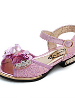 cheap -Girls' Shoes PU(Polyurethane) Summer Comfort / Flower Girl Shoes Sandals Walking Shoes Sequin / Magic Tape for Kids Gold / Pink