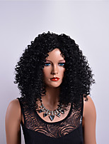 cheap -Synthetic Wig Curly Asymmetrical Haircut Synthetic Hair Party Black Wig Women's Long Capless