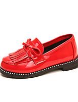cheap -Girls' Shoes PU(Polyurethane) Spring & Summer Comfort Flats Walking Shoes Sparkling Glitter / Tassel for Teenager Black / Red / Burgundy