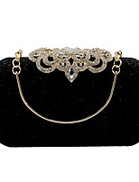 cheap -Women's Bags Polyester / Rhinestones Evening Bag Buttons / Crystals Black / Silver