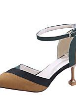abordables -Femme Chaussures Polyuréthane Printemps / Eté Escarpin Basique Chaussures à Talons Kitten Heel Bout pointu Beige / Jaune