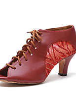 cheap -Women's Latin Shoes Faux Leather Sneaker MiniSpot / Paillette Thick Heel Customizable Dance Shoes Dark Red