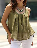 Недорогие -Жен. Плиссировка Блуза Однотонный