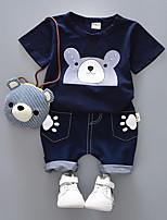 cheap -Toddler Boys' Black & Gray Print Short Sleeve Clothing Set