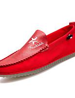 baratos -Homens sapatos Couro Ecológico Outono Mocassim / Sapatos de mergulho Mocassins e Slip-Ons Branco / Preto / Vermelho