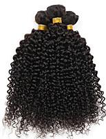 economico -4 pacchi Brasiliano Riccio Cappelli veri Ciocche a onde capelli veri / Estensore / Parrucche di capelli umani con retina 8-28 pollice Tessiture capelli umani A macchina Morbido / Feste / Tessuto Nero