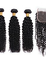 cheap -Brazilian Hair Curly One Pack Solution PVC Bag 8-24 inch Human Hair Weaves Machine Made Extention / Hot Sale Natural Black Human Hair Extensions All