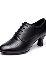 preiswerte -Damen Schuhe für modern Dance Nappaleder Absätze Kubanischer Absatz Maßfertigung Tanzschuhe Schwarz