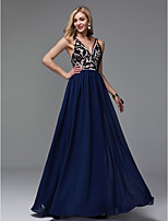 cheap -Sheath / Column V Neck Floor Length Chiffon See Through Prom / Formal Evening Dress with Embroidery by TS Couture®