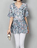 Недорогие -Жен. С кисточками Блуза Классический Однотонный / Геометрический принт Черное и белое