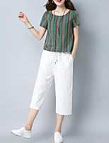 cheap -Women's Basic / Chinoiserie Set - Solid Colored / Striped Pant