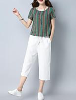 abordables -Mujer Básico / Tejido Oriental Conjunto - Un Color / A Rayas Pantalón