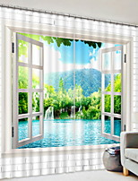 cheap -3D Curtains Bedroom Geometric Polyester Printed / Blackout