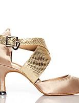 Недорогие -Жен. Обувь для латины Сатин Кроссовки Двусторонняя выемка / Планка Тонкий высокий каблук Танцевальная обувь Черный / Телесный