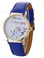 Недорогие -Xu™ Жен. Нарядные часы / Наручные часы Китайский Творчество / Повседневные часы / Крупный циферблат PU Группа Мода / Часы с текстом Черный / Белый / Синий / Один год