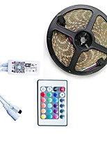 cheap -5m Flexible LED Light Strips / RGB Strip Lights / Smart Lights 300 LEDs SMD5050 1 24Keys Remote Controller / 1 X 5A power adapter RGB / White / Red Cuttable / Waterproof / Self-adhesive 100-240 V 1set