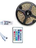 economico -5m Strisce luminose LED flessibili / Strisce luminose RGB / Luci intelligenti 300 LED SMD5050 1 telecomando da 24Keys / 1 adattatore di alimentazione X 5A Colori primari / Bianco / Rosso Accorciabile