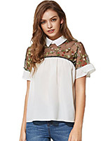 cheap -women's going out t-shirt - solid colored shirt collar