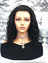 Недорогие -Remy Лента спереди Парик Бразильские волосы / Волнистые Волнистый 130% плотность Средняя длина Жен. Парики из натуральных волос на