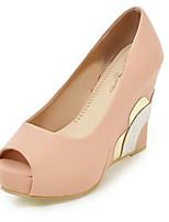 cheap -Women's Shoes PU(Polyurethane) Spring & Summer Basic Pump Heels Wedge Heel Peep Toe White / Blue / Pink / Party & Evening