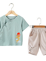 cheap -Kids Unisex Solid Colored / Print Short Sleeve Clothing Set
