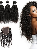 cheap -Brazilian Hair Curly One Pack Solution 3 Bundles With  Closure Human Hair Weaves Extention / Hot Sale Natural Black Human Hair Extensions All