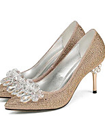 cheap -Women's Shoes Synthetics Spring Comfort Heels Stiletto Heel Open Toe Gold / Silver