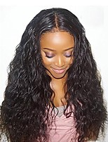 cheap -Virgin Human Hair Lace Front Wig Wig Water Wave Wavy 150% Density With Baby Hair / Hot Sale Natural Women's Long Human Hair Lace Wig