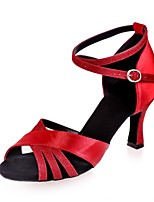cheap -Women's Latin Shoes Satin Sandal Flared Heel Dance Shoes Silver / Brown / Red