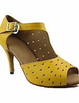 cheap -Women's Latin Shoes Cowhide Heel Slim High Heel Dance Shoes Yellow / Performance / Leather / Practice