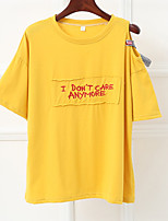 cheap -Women's Basic T-shirt - Letter Embroidered