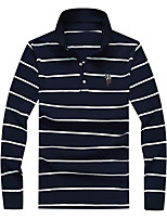 cheap -Men's Linen Polo - Striped Shirt Collar / Please choose one size larger according to your normal size. / Long Sleeve