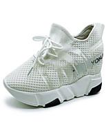 Недорогие -Жен. Обувь Тюль Весна лето Удобная обувь Кеды Туфли на танкетке Белый / Черный