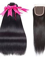 Недорогие -3 комплекта с закрытием Бразильские волосы Прямой Натуральные волосы Человека ткет Волосы / Удлинитель / Волосы Уток с закрытием 8-22 дюймовый Черный Естественный цвет Ткет человеческих волос 4x4