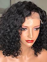 Недорогие -Remy Лента спереди Парик Бразильские волосы / Волнистые Кудрявый Парик Стрижка боб 130% С детскими волосами / Природные волосы / Парик в афро-американском стиле Жен. Короткие